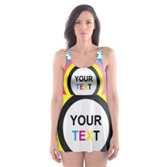 Colorful Butterfly Rainbow Circle Animals Fly Pink Yellow Black Blue Text Skater Dress Swimsuit