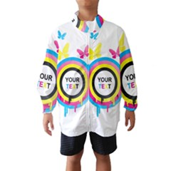 Colorful Butterfly Rainbow Circle Animals Fly Pink Yellow Black Blue Text Wind Breaker (Kids)