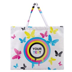 Colorful Butterfly Rainbow Circle Animals Fly Pink Yellow Black Blue Text Zipper Large Tote Bag