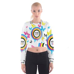 Colorful Butterfly Rainbow Circle Animals Fly Pink Yellow Black Blue Text Women s Cropped Sweatshirt