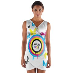 Colorful Butterfly Rainbow Circle Animals Fly Pink Yellow Black Blue Text Wrap Front Bodycon Dress
