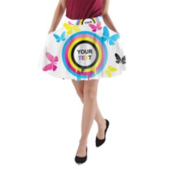 Colorful Butterfly Rainbow Circle Animals Fly Pink Yellow Black Blue Text A-Line Pocket Skirt