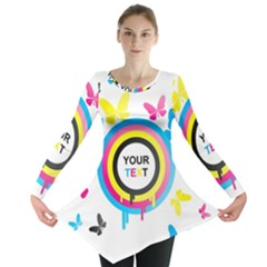 Colorful Butterfly Rainbow Circle Animals Fly Pink Yellow Black Blue Text Long Sleeve Tunic
