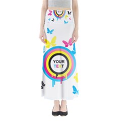 Colorful Butterfly Rainbow Circle Animals Fly Pink Yellow Black Blue Text Maxi Skirts