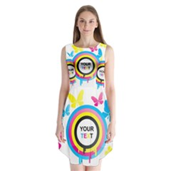 Colorful Butterfly Rainbow Circle Animals Fly Pink Yellow Black Blue Text Sleeveless Chiffon Dress