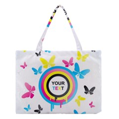 Colorful Butterfly Rainbow Circle Animals Fly Pink Yellow Black Blue Text Medium Tote Bag