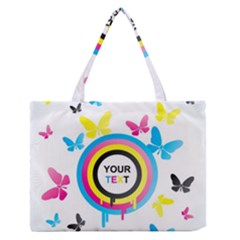 Colorful Butterfly Rainbow Circle Animals Fly Pink Yellow Black Blue Text Medium Zipper Tote Bag