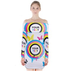 Colorful Butterfly Rainbow Circle Animals Fly Pink Yellow Black Blue Text Long Sleeve Off Shoulder Dress