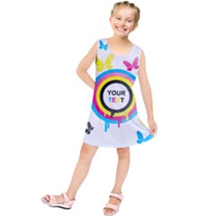 Colorful Butterfly Rainbow Circle Animals Fly Pink Yellow Black Blue Text Kids  Tunic Dress
