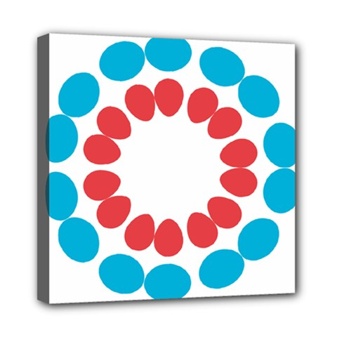 Egg Circles Blue Red White Mini Canvas 8  x 8