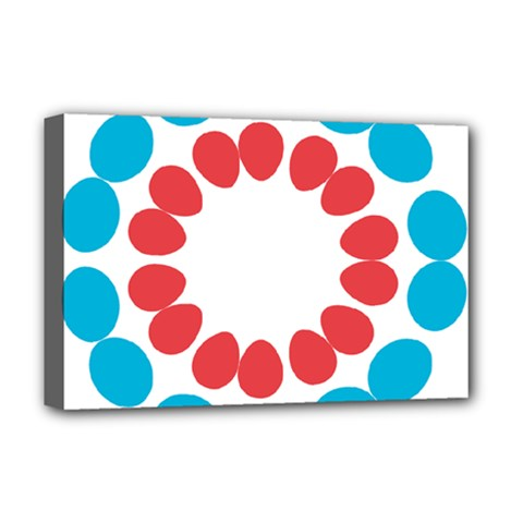 Egg Circles Blue Red White Deluxe Canvas 18  x 12