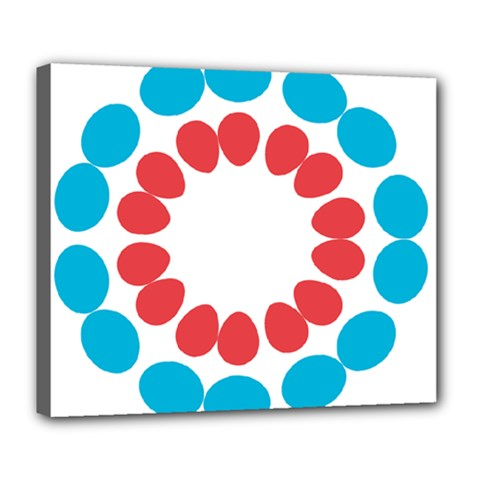 Egg Circles Blue Red White Deluxe Canvas 24  x 20