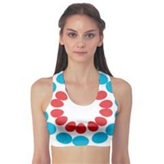 Egg Circles Blue Red White Sports Bra