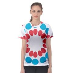 Egg Circles Blue Red White Women s Sport Mesh Tee