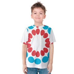 Egg Circles Blue Red White Kids  Cotton Tee