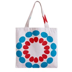 Egg Circles Blue Red White Zipper Grocery Tote Bag