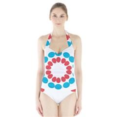 Egg Circles Blue Red White Halter Swimsuit