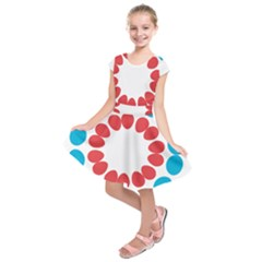 Egg Circles Blue Red White Kids  Short Sleeve Dress