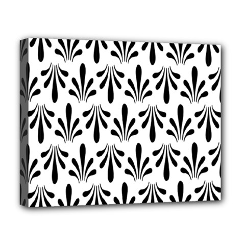 Floral Black White Deluxe Canvas 20  x 16