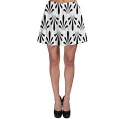 Floral Black White Skater Skirt