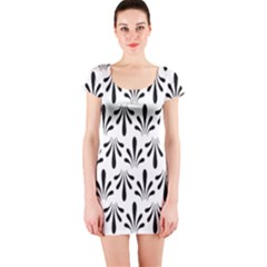 Floral Black White Short Sleeve Bodycon Dress