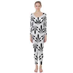 Floral Black White Long Sleeve Catsuit