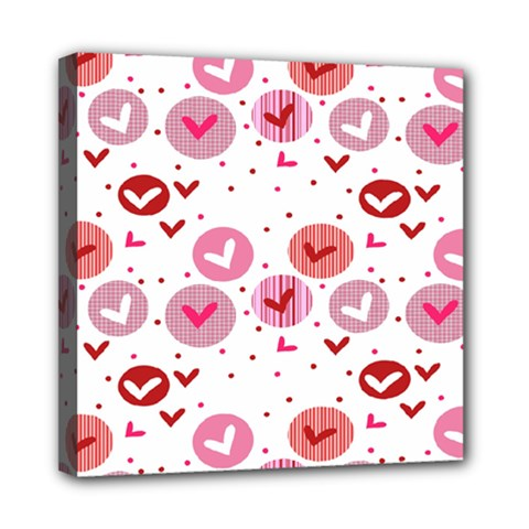 Crafts Chevron Cricle Pink Love Heart Valentine Mini Canvas 8  x 8