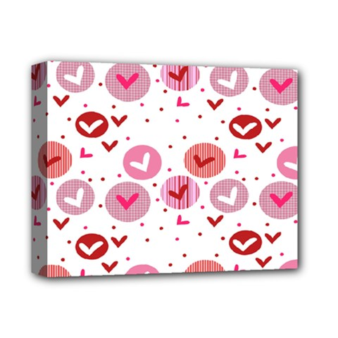 Crafts Chevron Cricle Pink Love Heart Valentine Deluxe Canvas 14  X 11