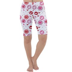Crafts Chevron Cricle Pink Love Heart Valentine Cropped Leggings