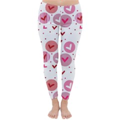 Crafts Chevron Cricle Pink Love Heart Valentine Classic Winter Leggings