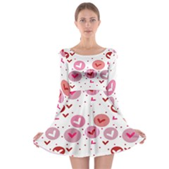 Crafts Chevron Cricle Pink Love Heart Valentine Long Sleeve Skater Dress