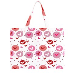Crafts Chevron Cricle Pink Love Heart Valentine Large Tote Bag