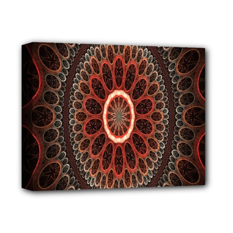Circles Shapes Psychedelic Symmetry Deluxe Canvas 14  x 11