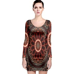 Circles Shapes Psychedelic Symmetry Long Sleeve Bodycon Dress