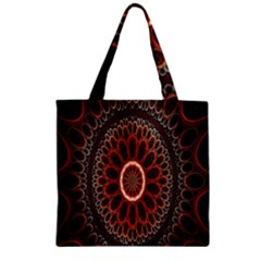 Circles Shapes Psychedelic Symmetry Zipper Grocery Tote Bag