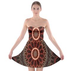 Circles Shapes Psychedelic Symmetry Strapless Bra Top Dress
