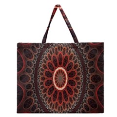 Circles Shapes Psychedelic Symmetry Zipper Large Tote Bag