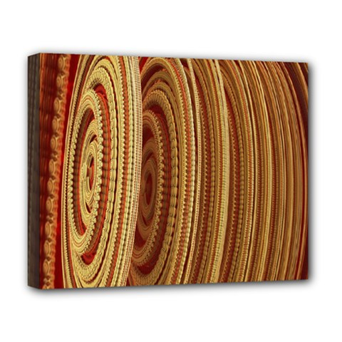 Circles Figure Light Gold Deluxe Canvas 20  x 16