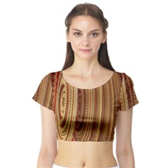 Circles Figure Light Gold Short Sleeve Crop Top (Tight Fit)