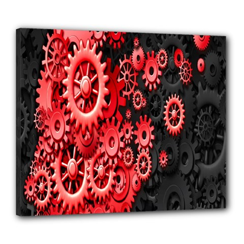 Gold Wheels Red Black Canvas 24  x 20