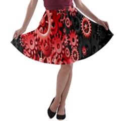 Gold Wheels Red Black A-line Skater Skirt