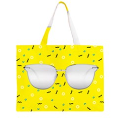 Glasses Yellow Zipper Large Tote Bag