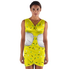 Glasses Yellow Wrap Front Bodycon Dress