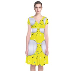 Glasses Yellow Short Sleeve Front Wrap Dress