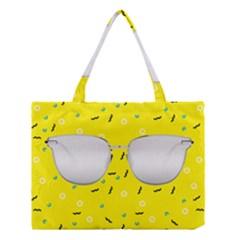Glasses Yellow Medium Tote Bag