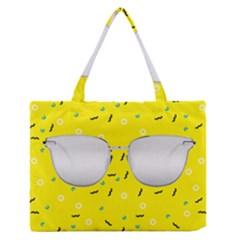 Glasses Yellow Medium Zipper Tote Bag