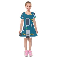 Amphisbaena Two Platform Dtn Node Vector File Kids  Short Sleeve Velvet Dress