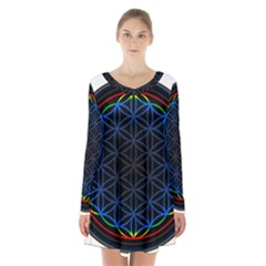 Flower Of Life Long Sleeve Velvet V Neck Dress