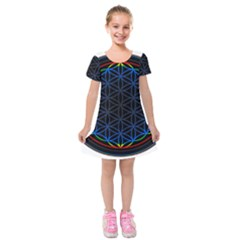 Flower Of Life Kids  Short Sleeve Velvet Dress