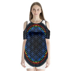 Flower Of Life Shoulder Cutout Velvet  One Piece